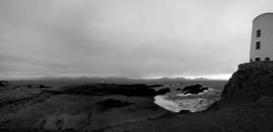 438898-Llandwyn Lighthouse Panorama Grey Sky BW